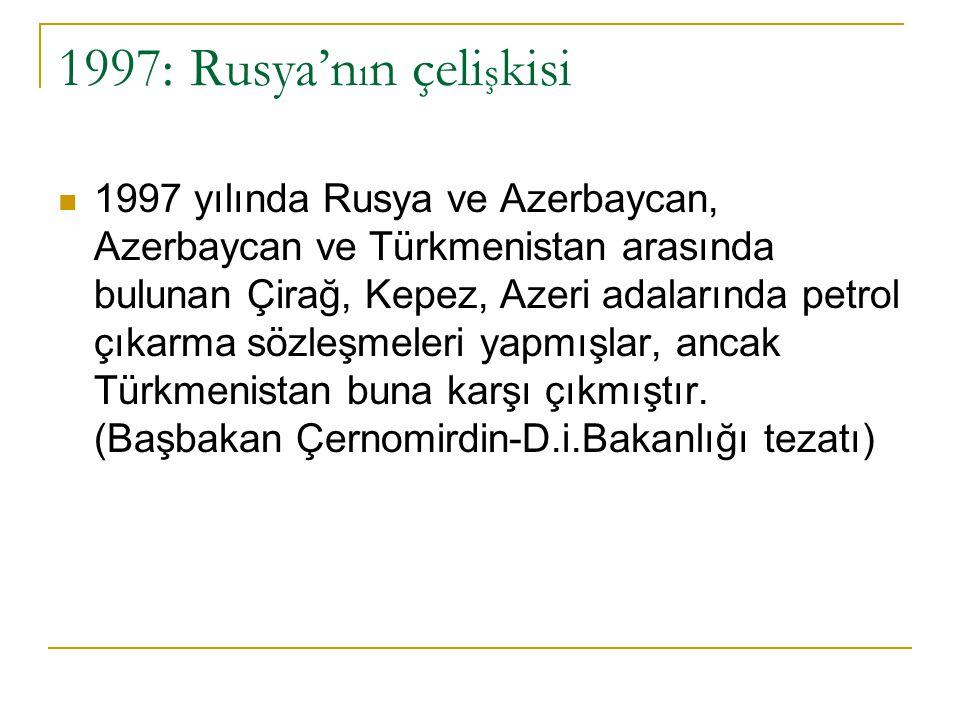 Çözüm Arayışları: 1998 Antlaşması… Aralık 1997: Rusya-Kazakistan görüşmeleri.