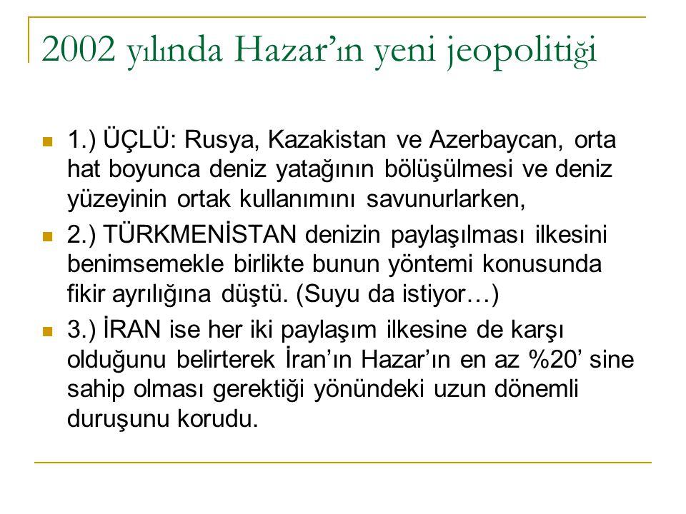 2003 jeopoliti ğ i ÜÇLÜ ANTLAŞMA: Mayıs 2003'te Rusya, Azerbaycan ve Kazakistan, Hazar konusunda orta hat yöntemine dayalı üç taraflı bir antlaşmayı yürürlüğe soktular.