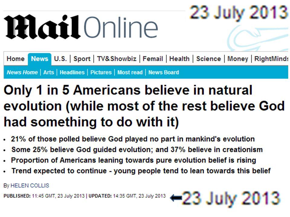 Yaradılış teorisi – Bütün organizmalar Tanrı tarafından 6 günde yaratılmıştır (İncil, 1:1 – 2:4) – Canlı cansız herşeyi Allah yaratmıştır (Kuran, 2:29) – Ussher, 1650: M.Ö.