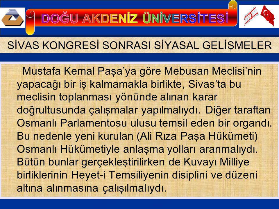 Osmanlı Hükümetiyle Anlaşma- Amasya Protokolleri; Erzurum ve Sivas Kongrelerini engelleyemeyen ve büyük bir siyasal yenilgiye uğrayan Damat Ferit, 1 Ekim 1919' da istifa etmiş, yerine yurtsever ılımlı bir asker olan Ali Rıza Paşa Sadrazam olmuştu.