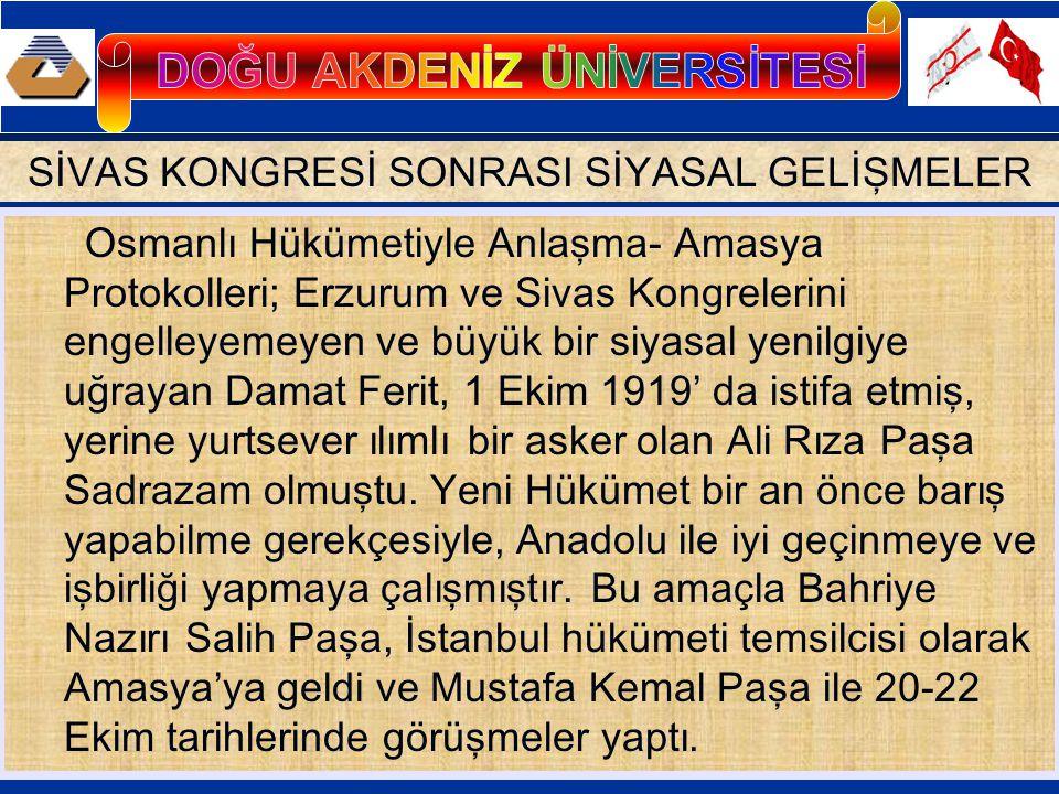 İstanbul Hükümeti, Heyet-i Temsiliye'yi tanıyacak; Meclisi Mebusan toplanacak; Anadolu hareketlerinin temsilcileri ile iyi geçinilecek; buna karşılık Heyet-i Temsiliye de yurdun bütünlüğüne bir zarar gelmemesi koşuluyla İstanbul hükümetinin işlerine karışmayacaktı.