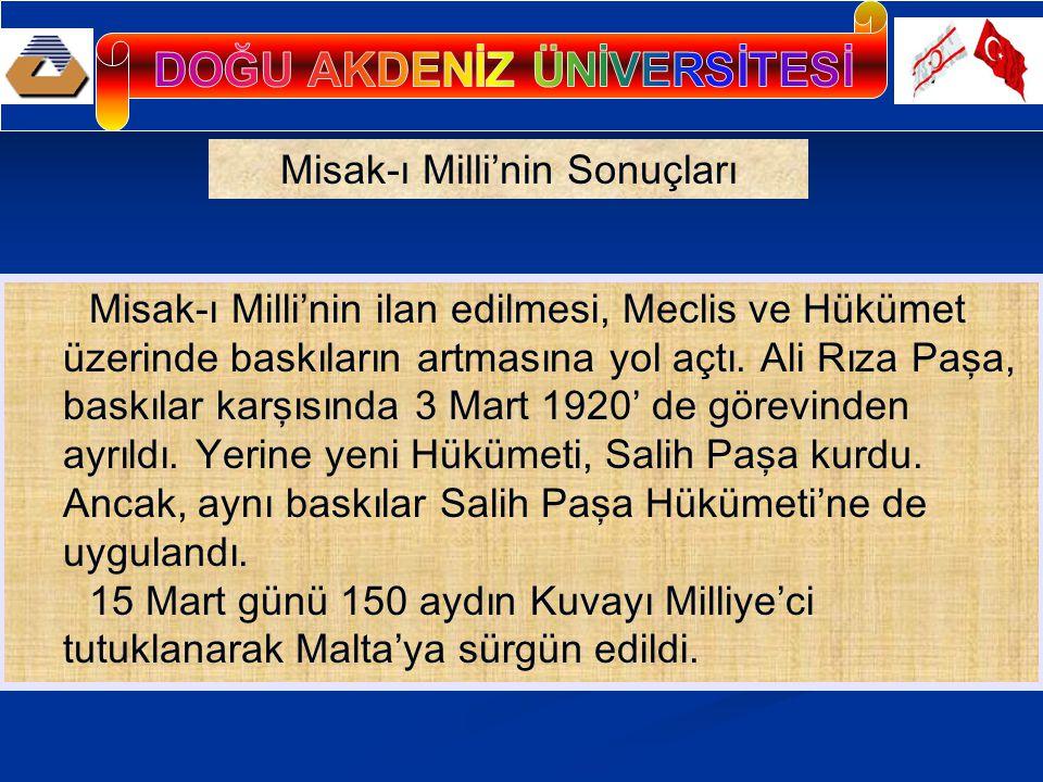 Anlaşma Devletleri, 16 MART 1920' de Sadrazam Salih Paşa'ya bir nota vererek İstanbul'un resmen işgal edileceğini bildirdiler.