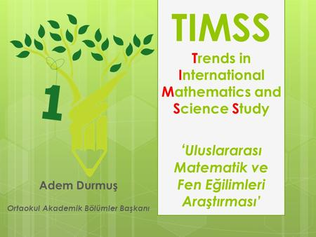 TIMSS Trends in International Mathematics and Science Study ' Uluslararası Matematik ve Fen Eğilimleri Araştırması' Adem Durmuş Ortaokul Akademik Bölümler.