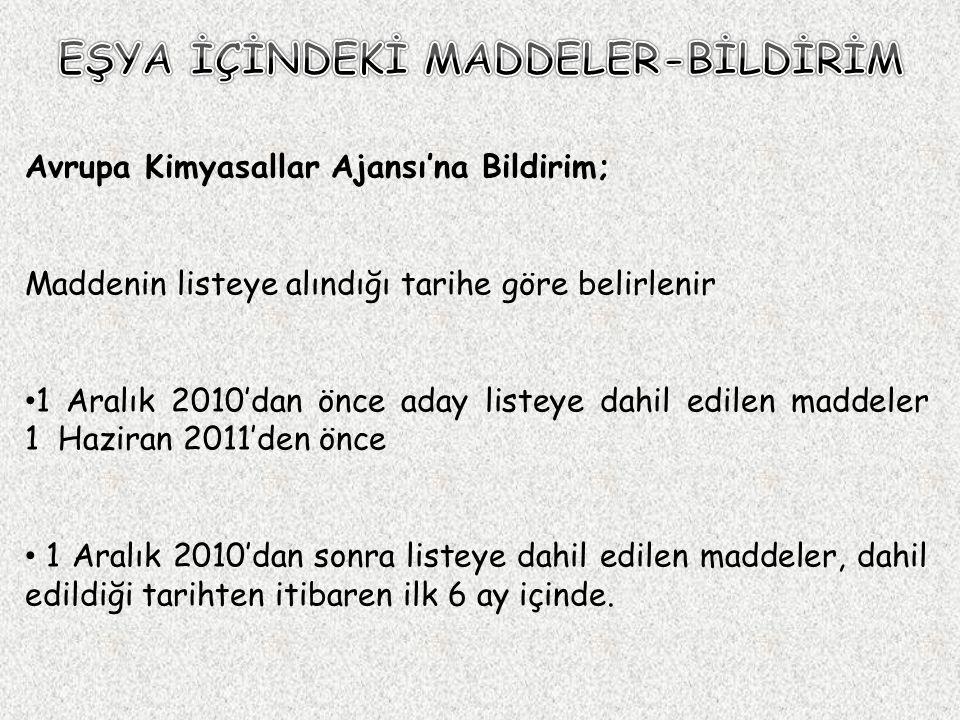  Yükümlülük Maddenin aday listeye alınmasından itibaren başlamaktadır.