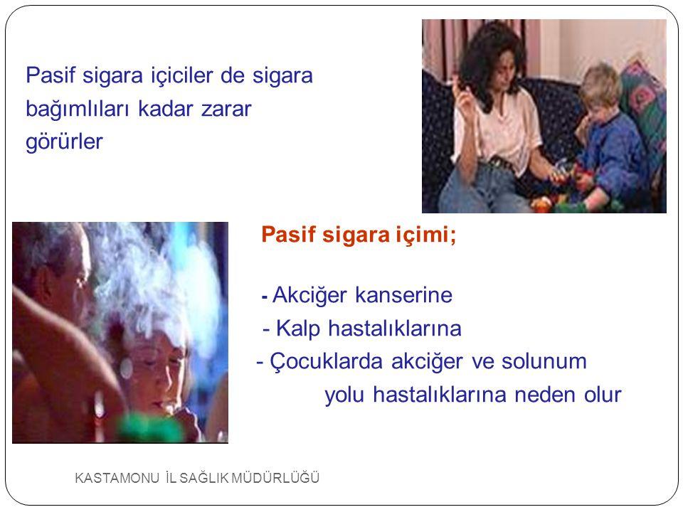 Sigara ve Pasif İçicilik PASİF İÇİCİLİK Hiç sigara içmedigi halde çevresinde sigara dumanı inhale edenlerde kalp hastalıgı riski artmaktadır.
