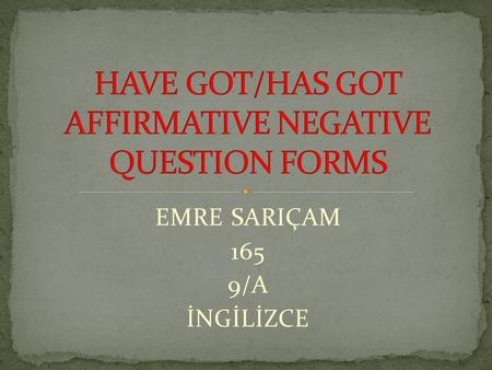 HAVE GOT/HAS GOT AFFIRMATIVE NEGATIVE QUESTION FORMS