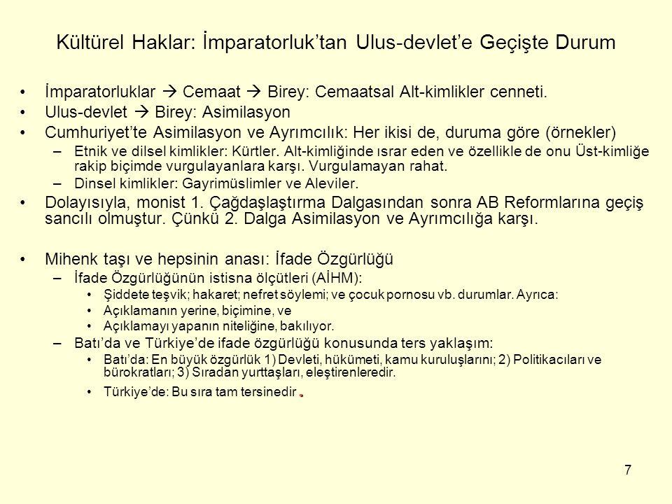 8 Türkiye'de Kültürel Haklar: 2001 sonuna kadarki durum 1) Dilin sözlü ve yazılı kullanımı –Gayrimüslimler: 1920 ve 30'larda ve yine 1950 ve 60'larda Vatandaş Türkçe Konuş kampanyaları.