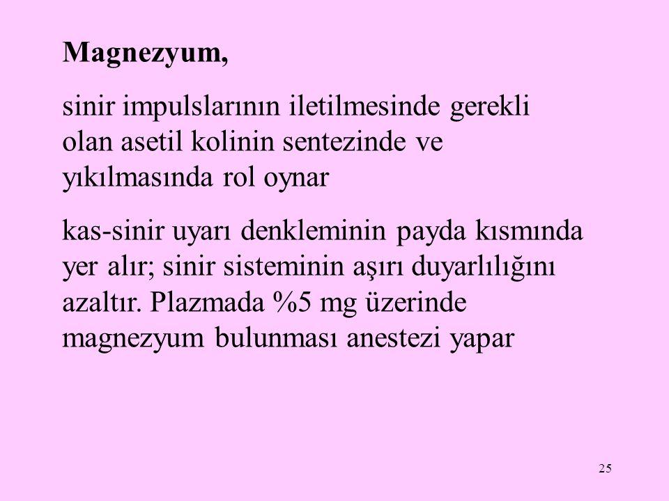 26 insanda serum magnezyum düzeyinin normal değeri 1,7-3,0 mg/dL Serum magnezyum düzeyinin normalden yüksek olması hipermagnezemi olarak tanımlanır Plazmada %5 mg üzerinde magnezyum bulunması anestezi yapar Serum magnezyum düzeyinin normalden düşük olması hipomagnezemi olarak tanımlanır