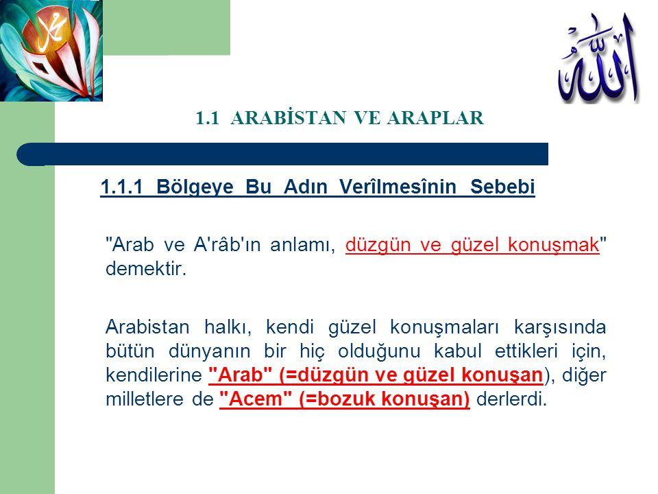 1.1 ARABİSTAN VE ARAPLAR 1.1.1 Bölgeye Bu Adın Verîlmesînin Sebebi Bazılarına göre: Arab kelimesinin aslının Arabe şeklinde olduğu ifade edilmektedir.