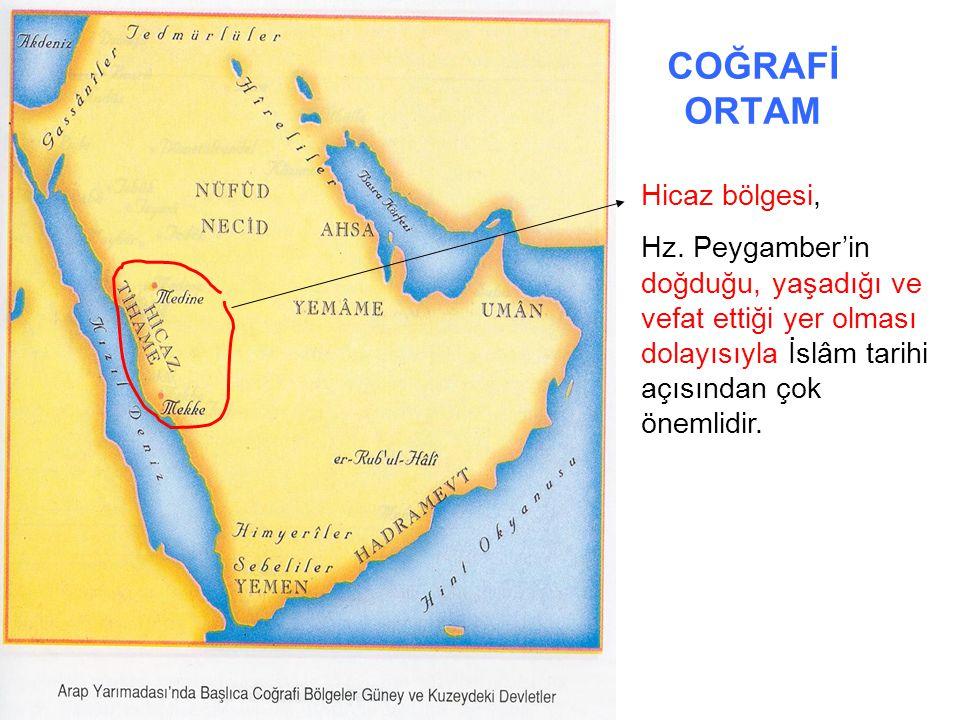 COĞRAFİ ORTAM Doğuda Basra ve Umman körfezleri, Batısı Kızıldeniz ile çevrilidir.