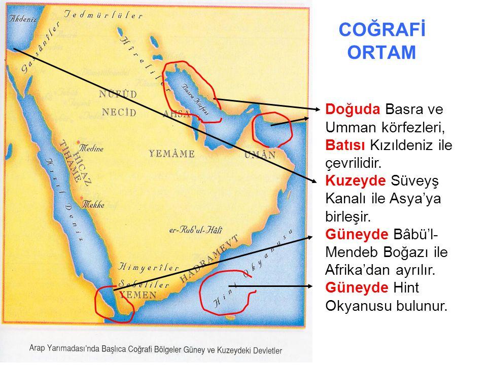 COĞRAFİ ORTAM Yarımadanın batı kesiminde, Kızıldeniz kıyısında genişliği yer yer 80-100 kilometreyi bulan dar bir kıyı ovası olan Tihâme yer alır.
