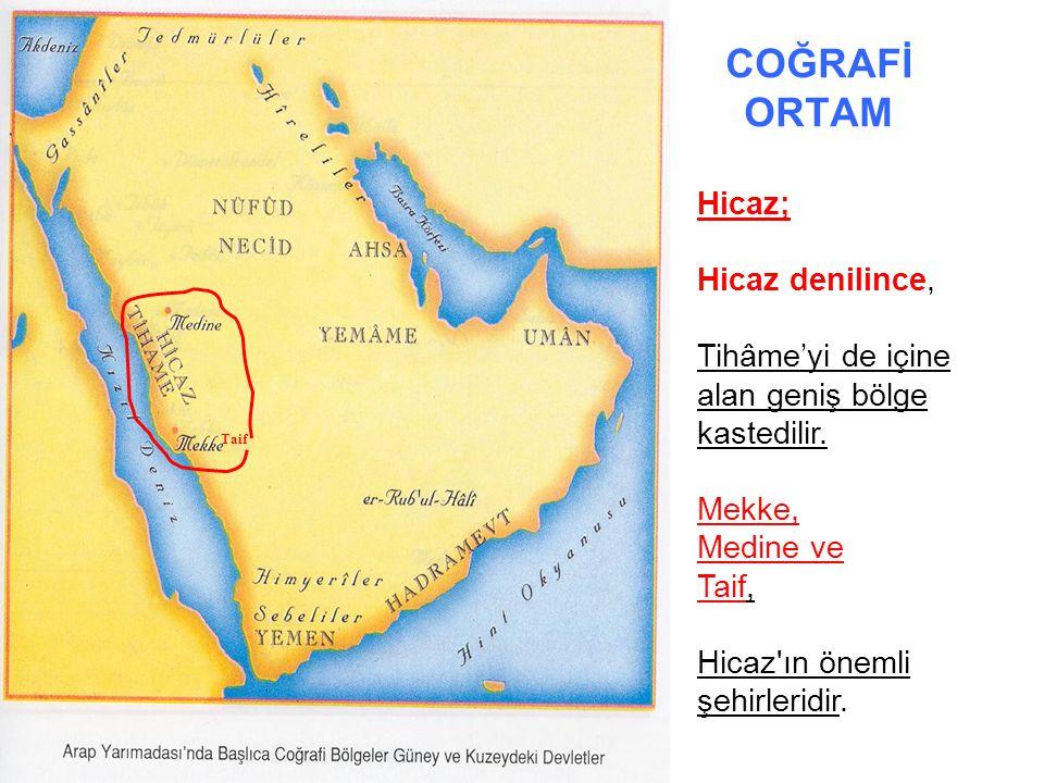 COĞRAFİ ORTAM Necid platosu Hicaz'ın doğusunda ve Arap Yarımadası nın orta kesiminde Necid platosu yer alır.
