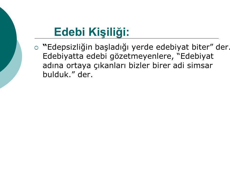  Baş yazarı olduğu Sebilü'r-reşat dergisinin yayın politikasını şöyle açıklıyor: Bu dergide yayınlanan yazılar kaba olabilir ama ahlaki ve içtimai olmak zorundadır.