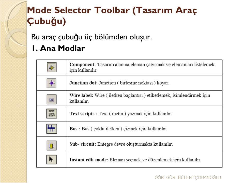 Mode Selector Toolbar (Tasarım Araç Çubu ğ u) ÖĞR. GÖR. BÜLENT ÇOBANOĞLU 2.GADGETS
