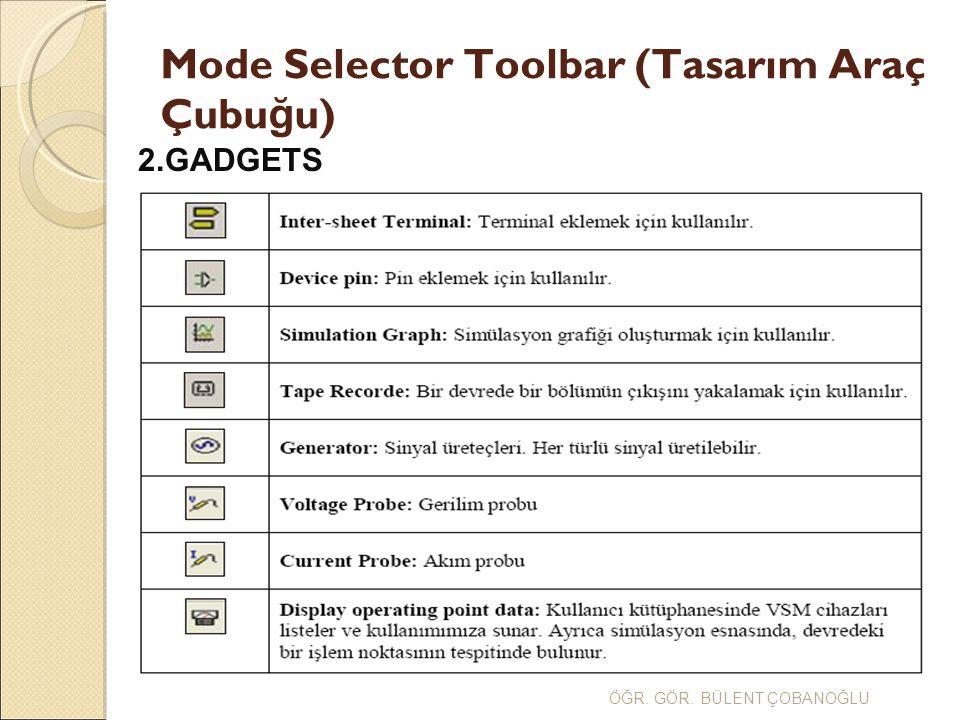 Mode Selector Toolbar (Tasarım Araç Çubu ğ u) ÖĞR.