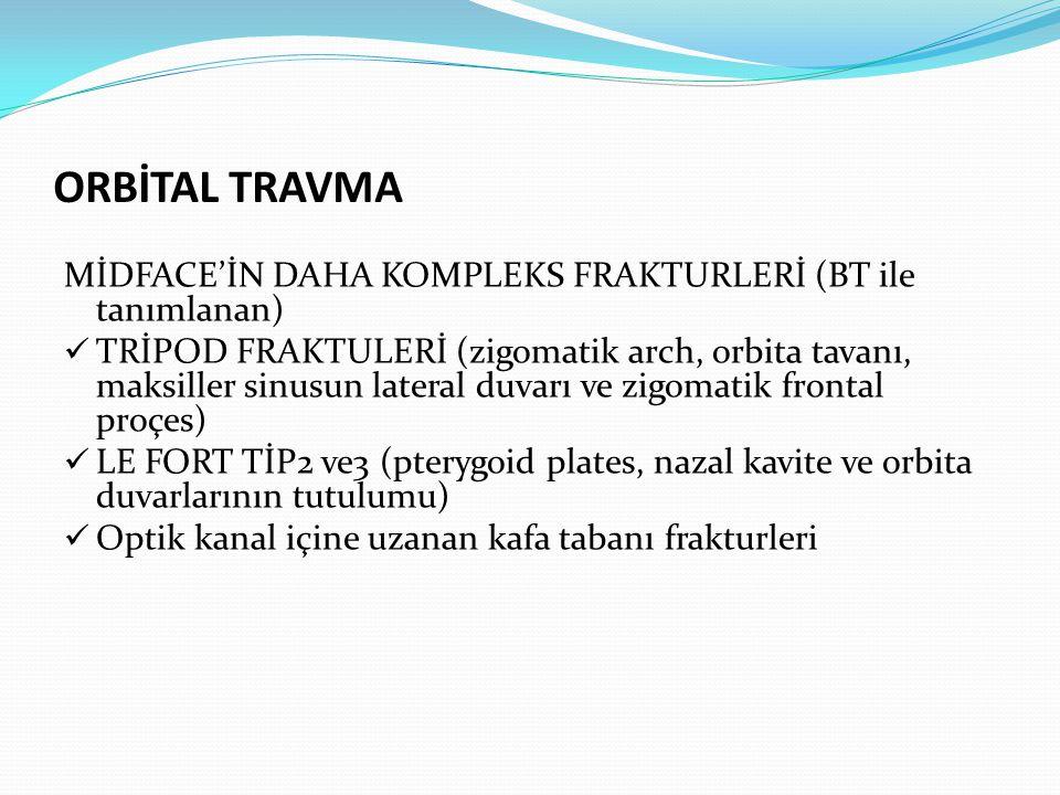 MEDİAL-BLOW OUT FRAKTÜRÜ aksiyal ve koronal BT de lamina papyracea fraktürü nedeniyle orbital yağ dokusu ve medial rektus kasının etmoid sinüs içine herniasyonu ve intraorbital amfizem