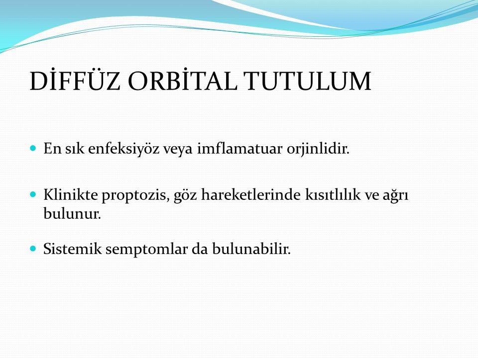ORBİTAL ENFEKSİYON Primer orbital hastalıkların %60'ı Direk travmaya sekonder, komşuluğundaki enfeksiyöz odaktan (paranasal sinuslerden ve yüzden) yayılımla, yabancı cisimler veya septisemiye sekonder gelişebilir.
