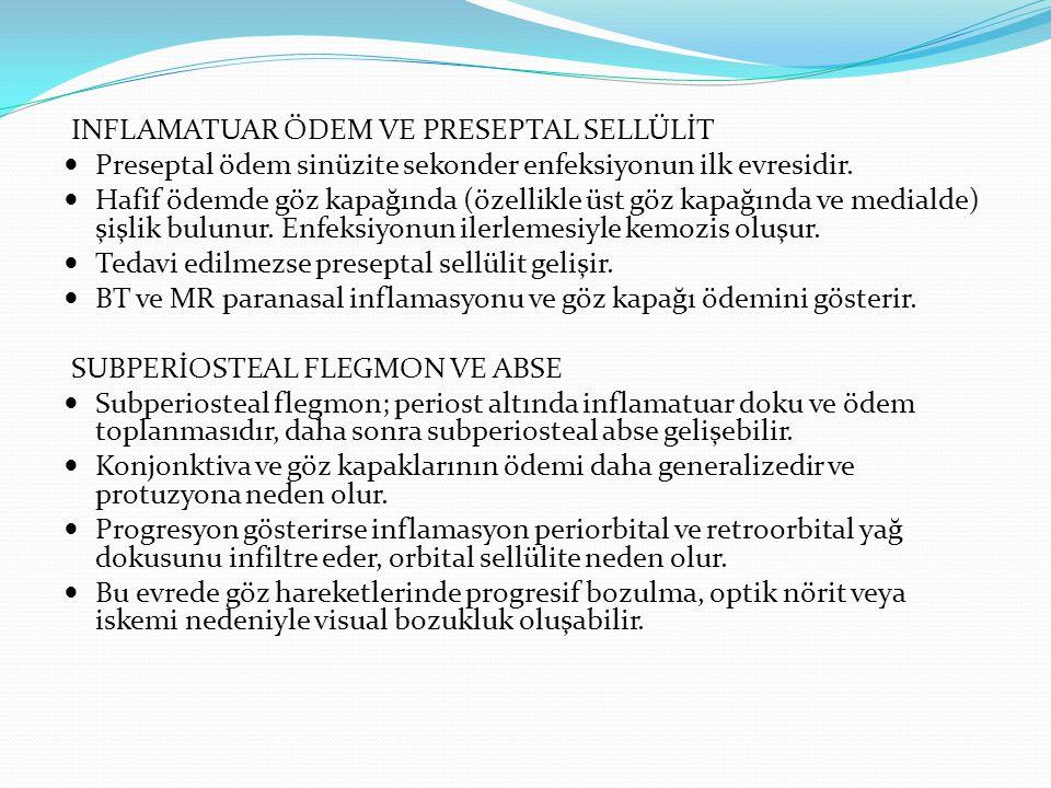 ORBİTAL ABSE Subperiosteal alandan yayılım veya ıntraorbital selülitin progresyonu intrakonal veya ekstrakonal lokulasyon ve abse formasyonuna neden olur.