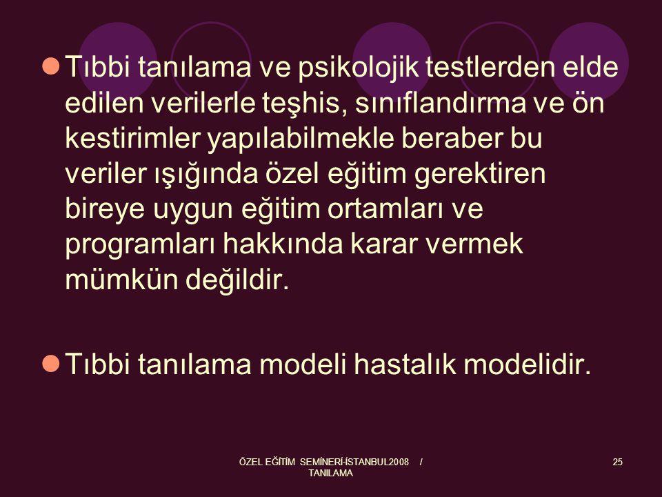 ÖZEL EĞİTİM SEMİNERİ-İSTANBUL2008 / TANILAMA 26 Eğitsel Tanılama Modeli Eğitsel tanılama yetersizlikten etkilendiği tespit edilen bireyin, gelişim yada disiplin alanlarında yapabildiklerinin, yani yeterliliklerinin belirlenerek gereksinimlerinin ortaya çıkarılmasıdır.