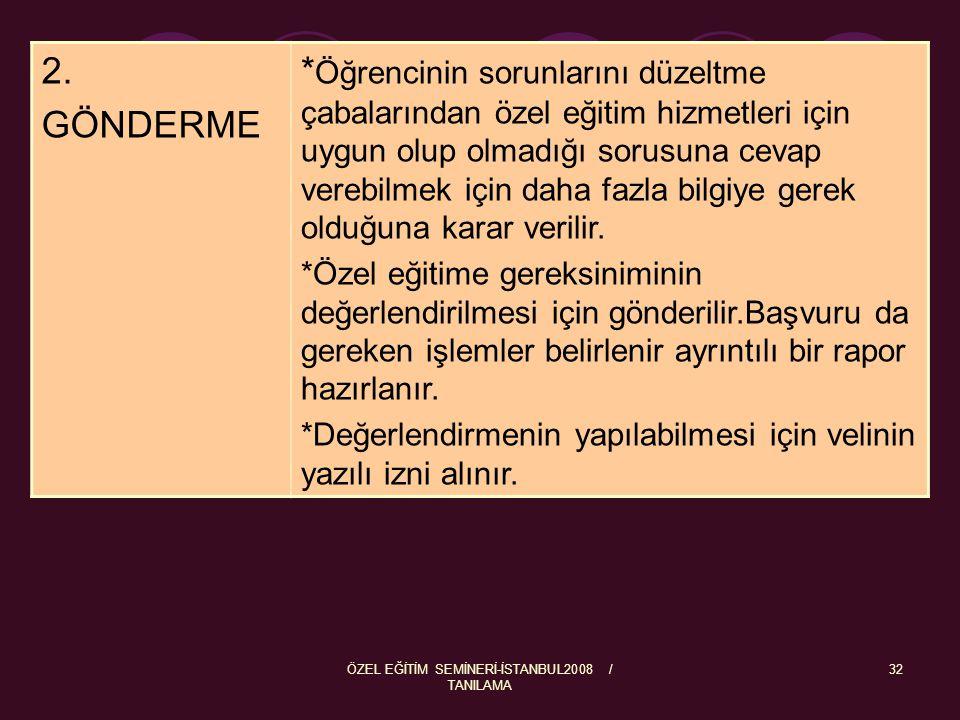 ÖZEL EĞİTİM SEMİNERİ-İSTANBUL2008 / TANILAMA 33 3 UYGULAMA Özel eğitim Değerlendirme Kurulu üyeleri öğrenciyi test eder.