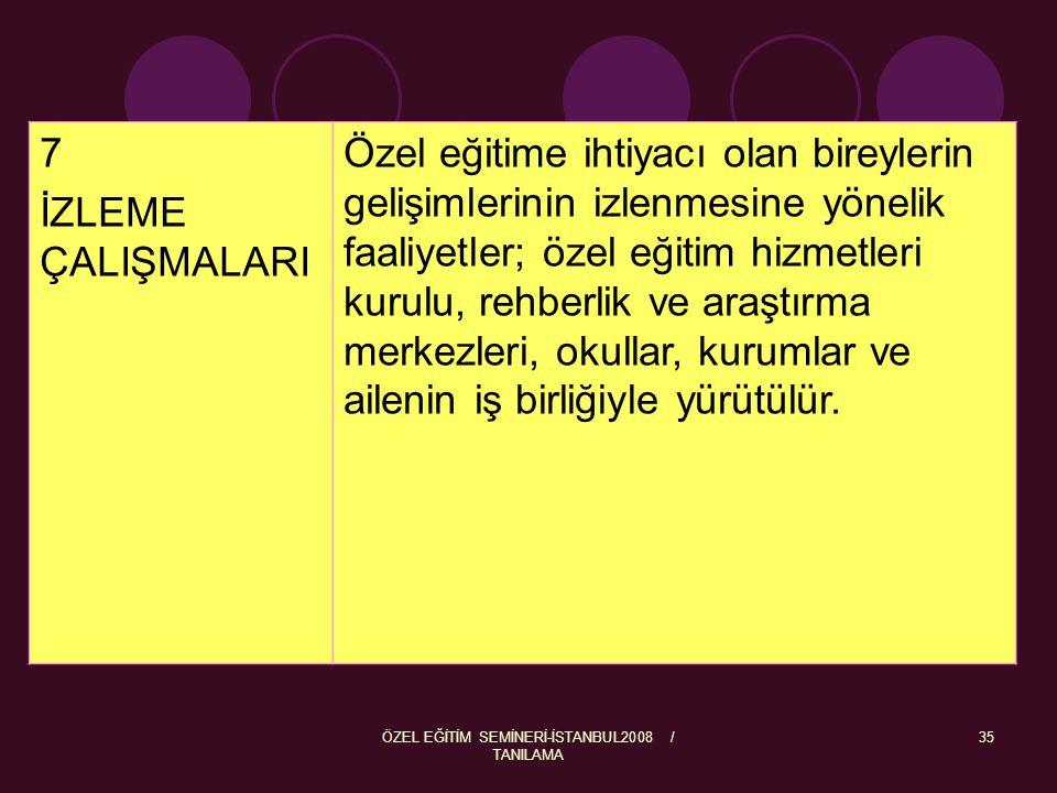ÖZEL EĞİTİM SEMİNERİ-İSTANBUL2008 / TANILAMA 36