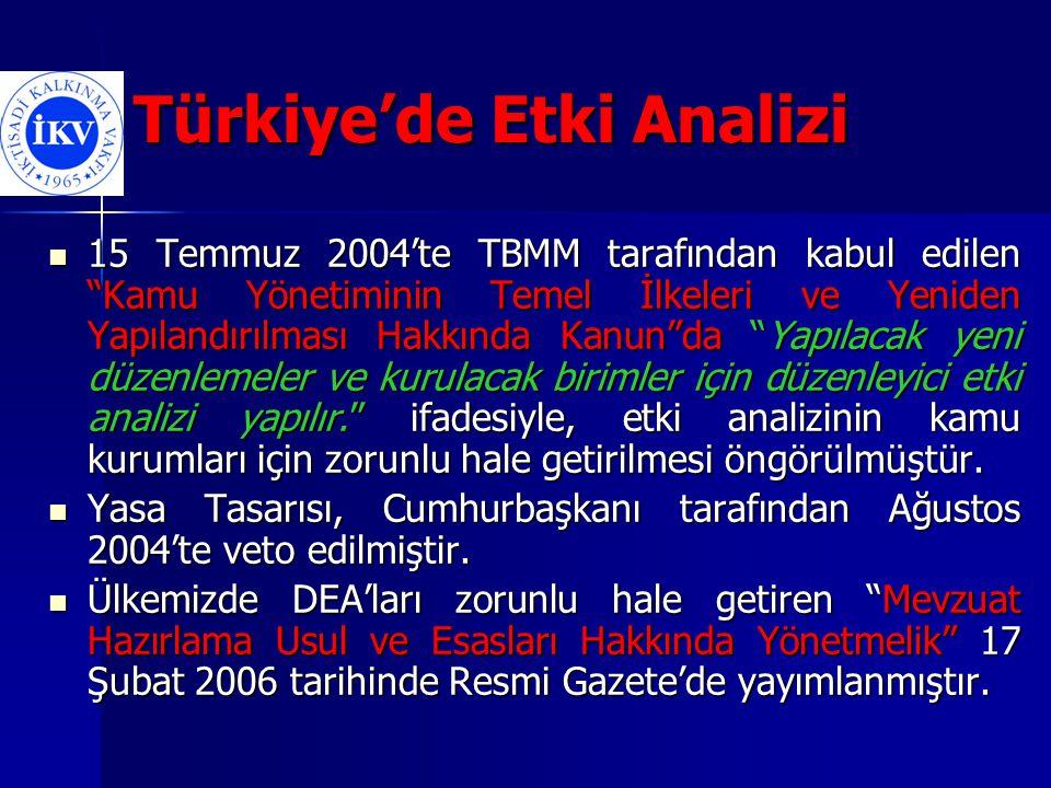 Türkiye'de Etki Analizi Yönetmeliğe göre; Yürürlüğe koyulması halinde etkisinin 10 milyon YTL'yi geçeceği tahmin edilen kanun ve kanun hükmünde kararname taslakları için düzenleyici etki analizi yapılması zorunludur.