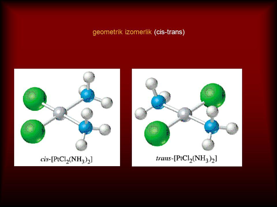 sekizyüzlü komplekslerde geometrik izomerlik (cis-trans)