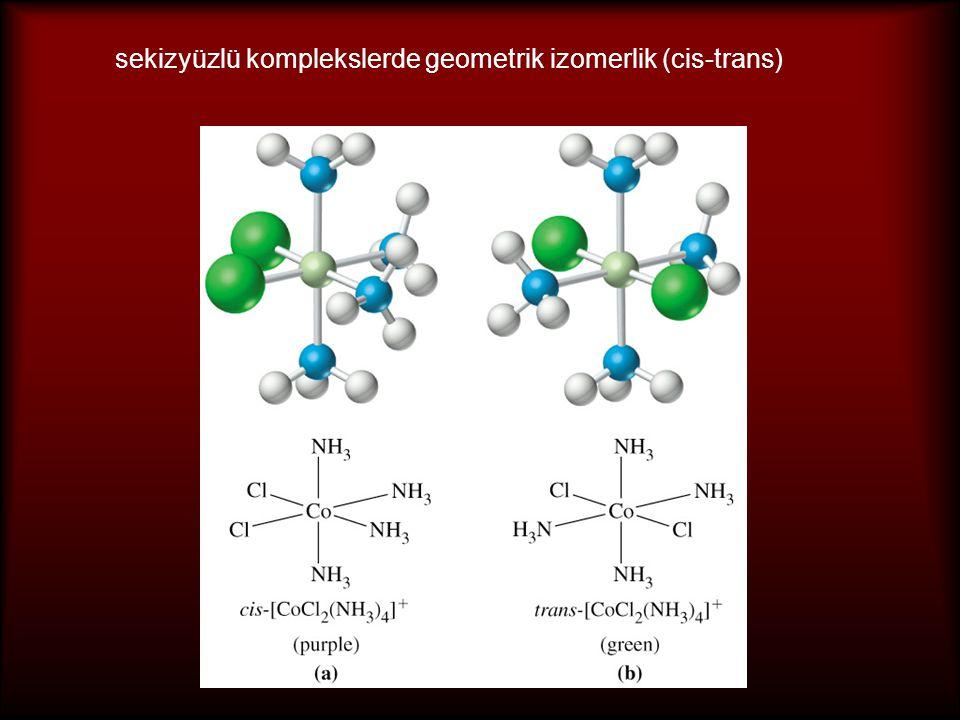 Sekizyüzlü komplekslerde geometrik izomerlik (fac-mer) fac (facial) => üç aynı ligant bir üçgenin köşelerinde yer alır mer (meridional) => üç aynı ligant kardüzlemin üç köşesinde yer alır