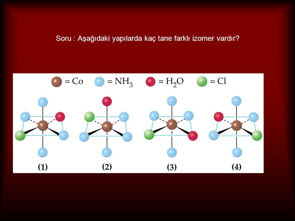 Konformasyon izomerliği Birden çok stereokimyasal yapıda bulunma hali Her iki yapının da mevcut olabilmesi için kararlılıklarının bulunması ve birbirine dönüşümünü engelleyen enerji bariyerinin olması gerekir Örnekler [Ni(CN) 5 ] 3- üçgen ciftpiramit ve kare piramit yapılarında bulunur [NiCl 2 (Ph 2 PCH 2 Ph) 2 ] dörtyüzlü ve kare düzlem yapılarında bulunur