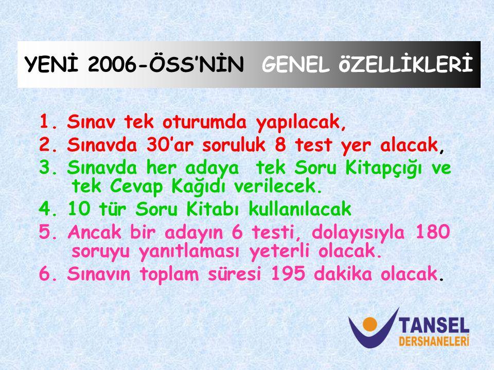 YENİ 2006-ÖSS'NİN GENEL ö ZELLİKLERİ 1.Sınav tek oturumda yapılacak, 2.