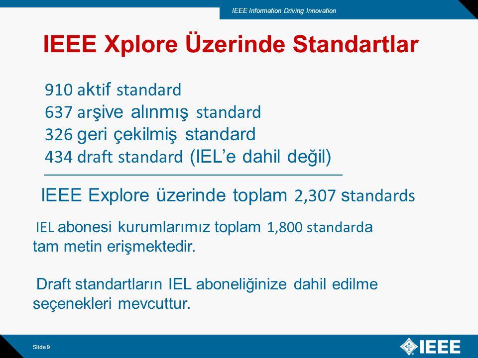 IEEE Information Driving Innovation Slide 10 Başarılı Erişimi Sağlamak Üzere Arama Seçenekleri Standartlara erişim seçenekleri Anahtar Kelime ile Aralıklar ile Bütün Liste