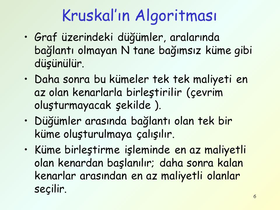 Kruskal'ın Algoritması – Kaba Kod 7