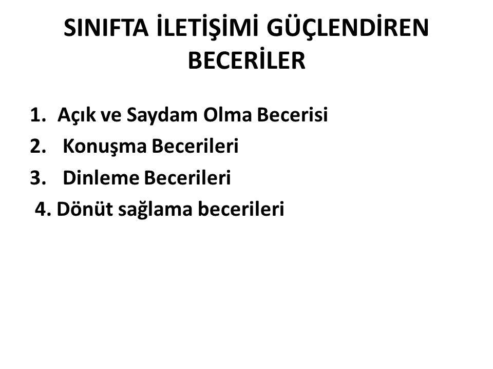 SINIF İÇİ İLETİŞİMDE DİKKAT EDİLMESİ GEREKEN İLKELER 1.