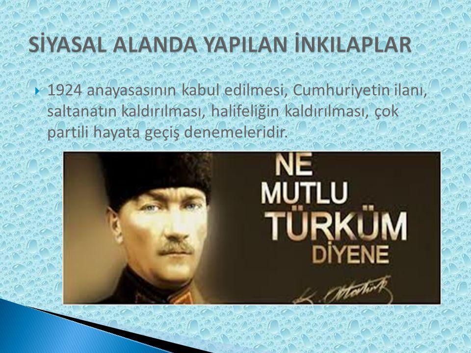  Güzel sanatlarda yapılan yenilikler, Türk Dil ve Tarih Kurumlarının kurulması, üniversite reformları Öğretimin birleştirilmesi, millet mekteplerinin açılması, harf devrimi, medreselerin kapatılmasıdır.