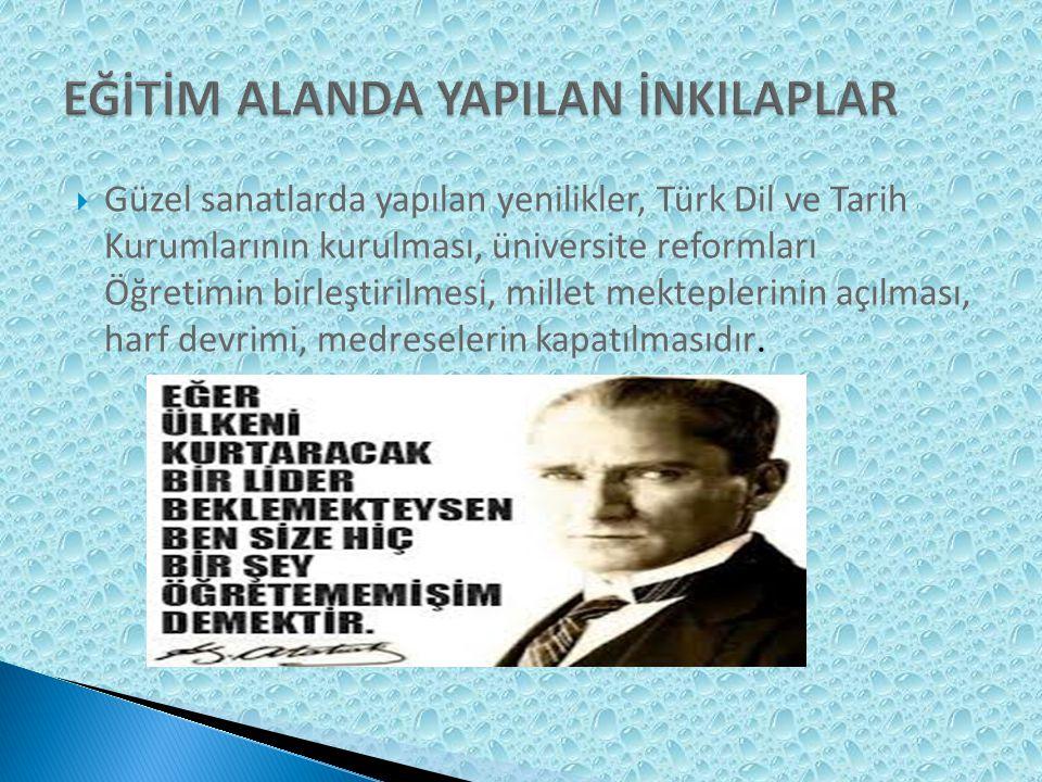 Türk ceza kanunu, mecellenin kaldırılması, şeriyye mahkemelerinin kapatılması, Teşkilatı Esasiye Kanunu, yeni anayasanın kabulü, medeni kanunun kabulüdür