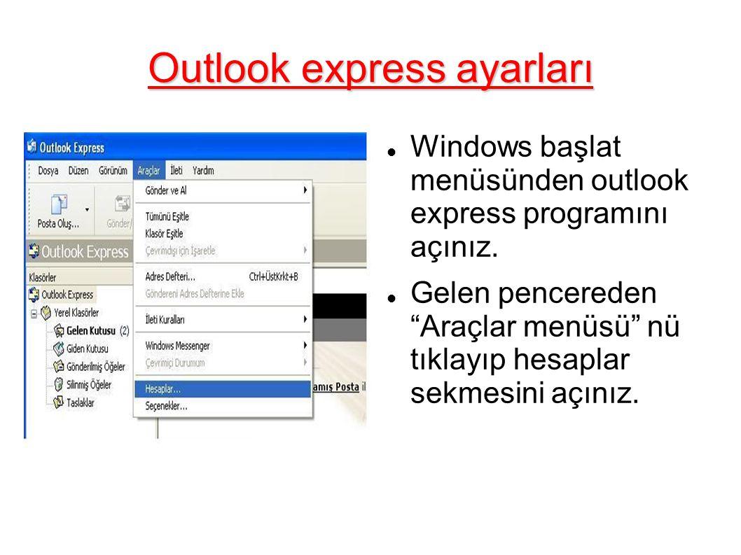 Outlook express ayarları Sağ üst köşedeki ekle menüsü içerisinden posta sekmesini tıklayınız.