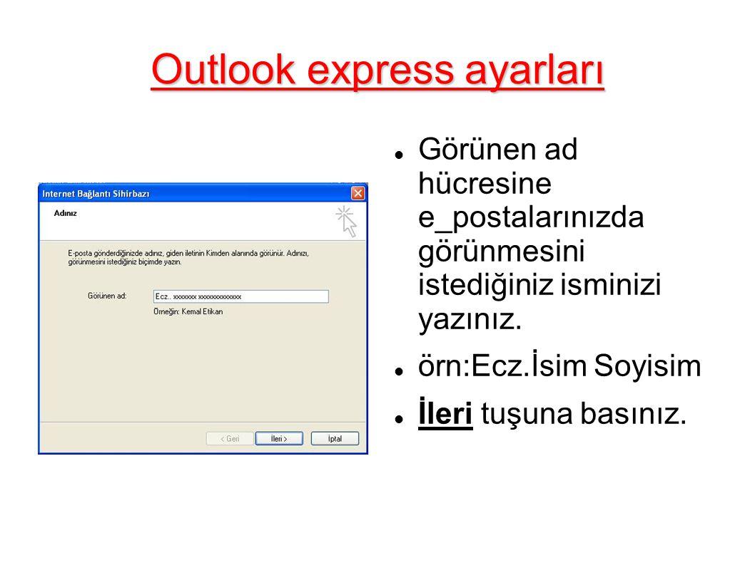 Outlook express ayarları Size verilen e_posta adresinizi tam olarak yazınız.