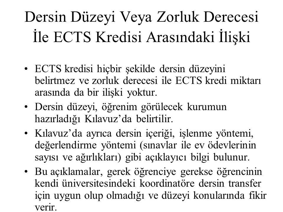 ECTS Kredisi İle Ders Saati Arasındaki İlişki ECTS kredisi sadece ders saatine bağımlı olmayıp, o dersin oluşturduğu tüm iş yükünü kapsar.