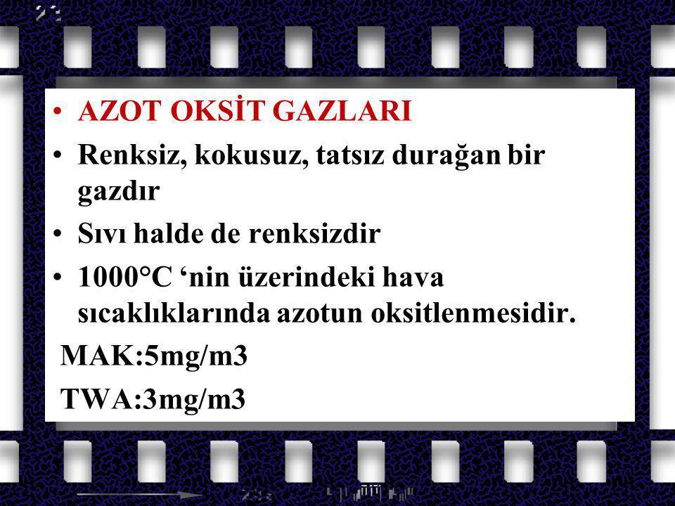 Azot Oksit Gazları AZOT OKSİT GAZLARI NO2 keskin kokulu,tahriş edici bir gazdır.