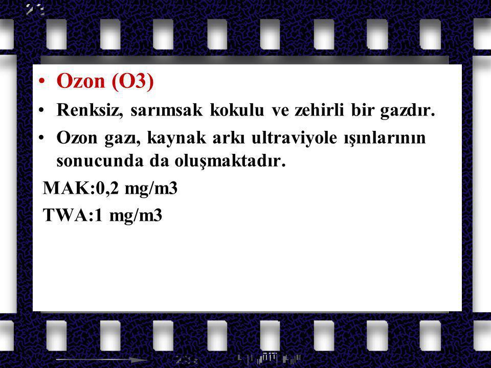 Azot Oksit Gazları Ozon (O3) HAVADAKİ ULTRAVİYOLE IŞINLARINDAN (ARK) OLUŞUR.