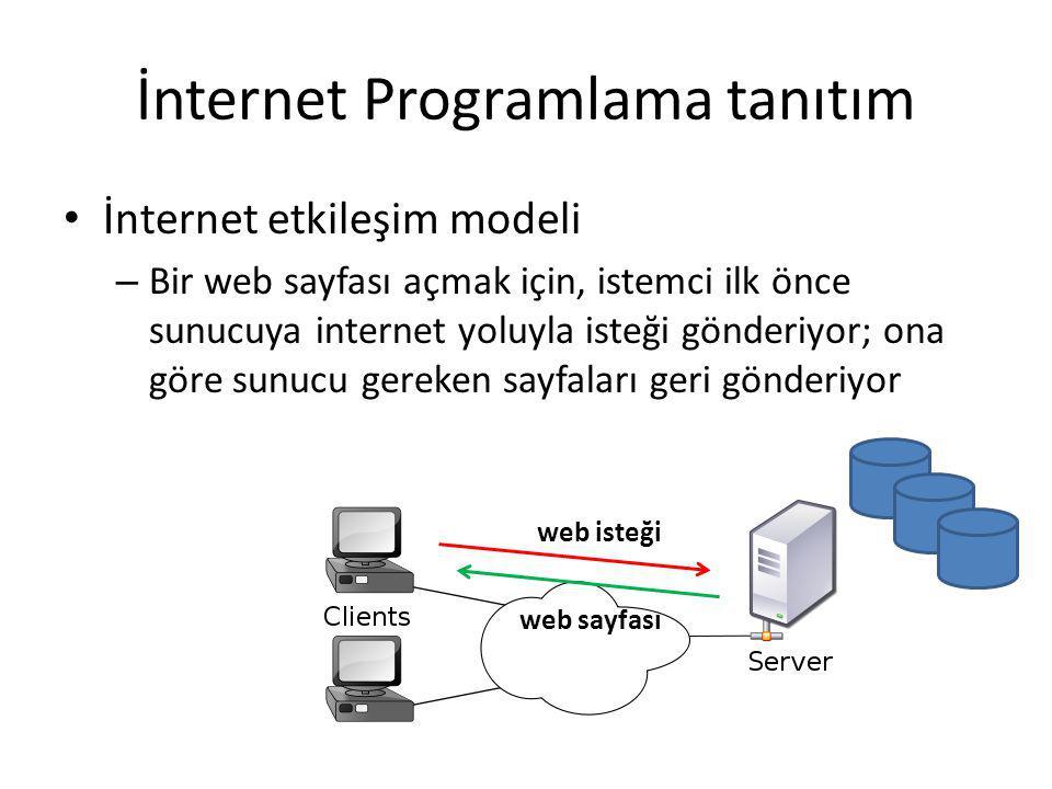 İnternet Programlama tanıtım İnternet etkileşim modeli – Bu sürecinde iki önemli eleman var – sunucunun web sayfası hazırlama ve göndermesi, ve istemcinin web sayfasını göstermesi Web sayfası gösterme Web sayfası hazırlama