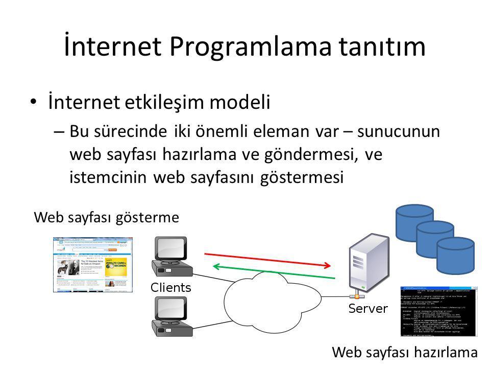 İnternet Programlama tanıtım İnternet etkileşim modeli – İkisi seviye web programlama ile desteklenir – Buna göre, İnternet/Web programlamanın iki seviyesi var İstemci tarafından programlama Sunucu tarafından programlama