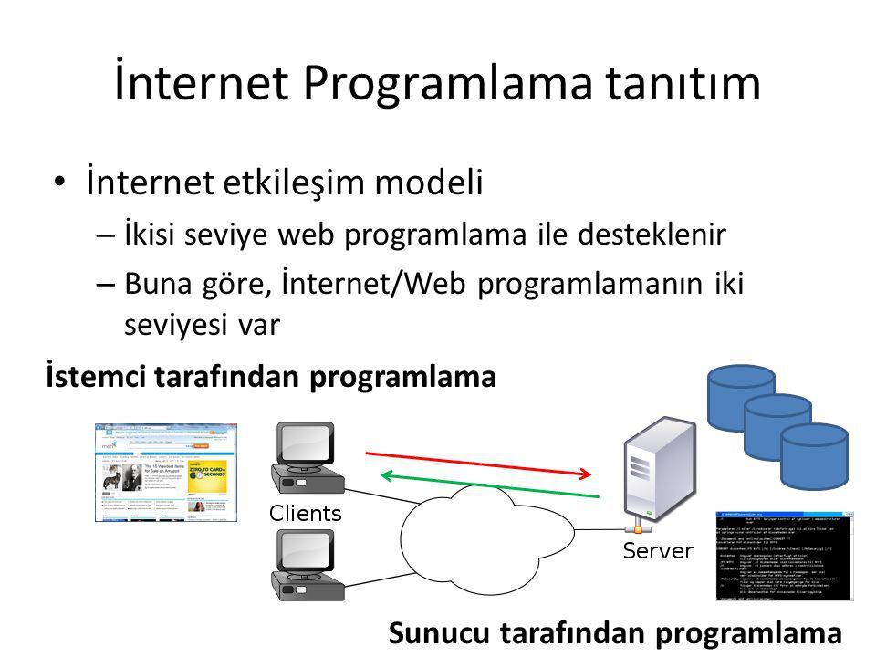 İnternet Programlama tanıtım İnternet etkileşim modeli – İnternet/Web programlamanın iki seviyesi Client-side programming Server-side programming