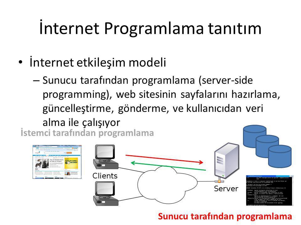 İnternet Programlama tanıtım İnternet etkileşim modeli – İstemci tarafından, iki seviye var i.Web sitesi gösterim kontrolü ve ii.Kullanıcıyla dinamik etkileşim İstemci tarafından programlama sunucu tarafından programlama