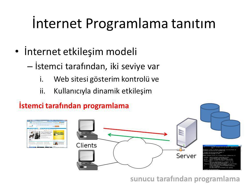 İnternet Programlama tanıtım İnternet etkileşim modeli – İsteci tarafından programlama web sitesi gösterim – HTML, CSS dilleri ve teknolojileri Kullanıcıyla etkileşim – Javascript ve DOM teknolojileri