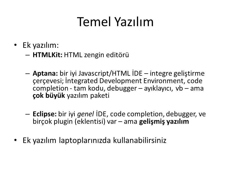 Ek Kaynaklar EK KAYNAKLAR HTML, web tasarım, javascript/ programlama ile ilgili ne varsa kitaplar kullanabilirsiniz İnternette birçok kaynak var (genel ingilizce) – Google'dan bulabilirsiniz – Çevirme için, google translate kullanılabilir