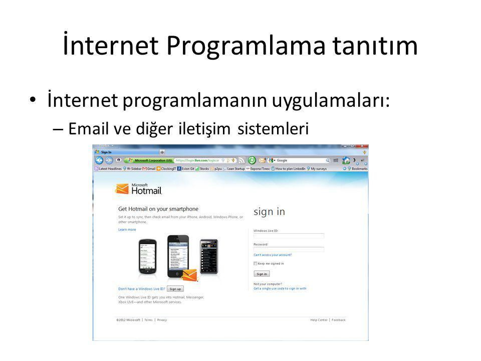 İnternet Programlama tanıtım İnternet programlamanın uygulamaları: – Arkadaşlarla iletişim – Facebook