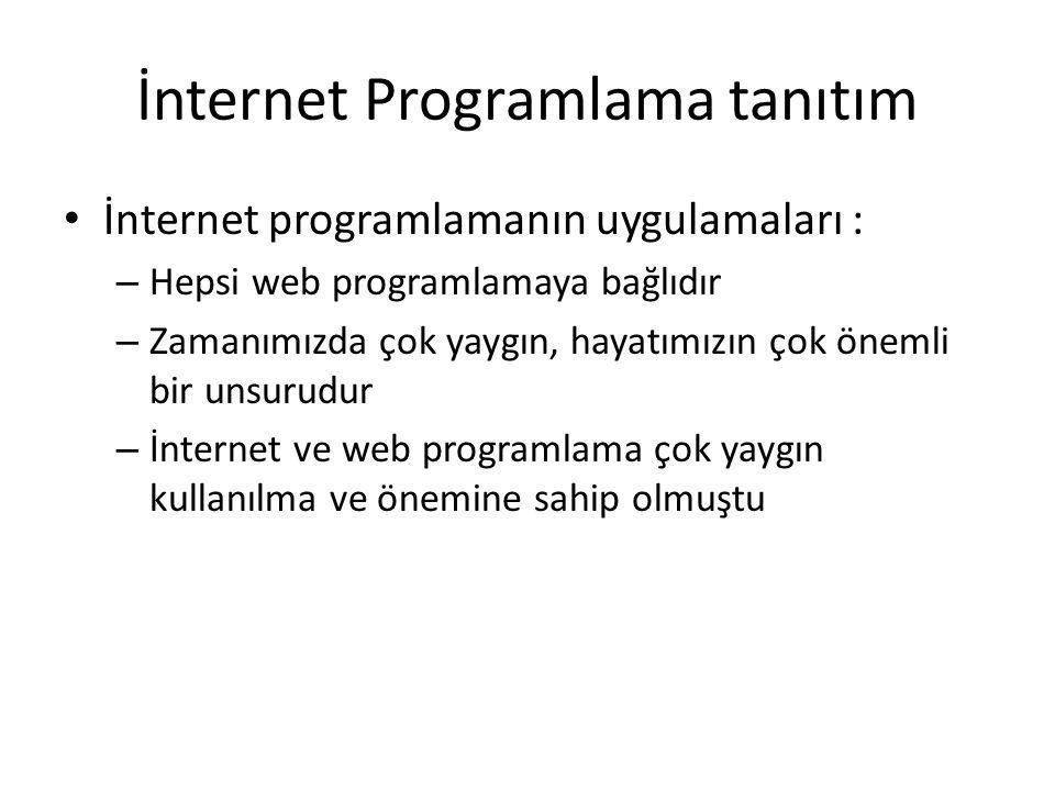 İnternet Programlama tanıtım İnternetteki temel iletişim iki seviye içerir – Web istemci (client) – Web sunucu (server)
