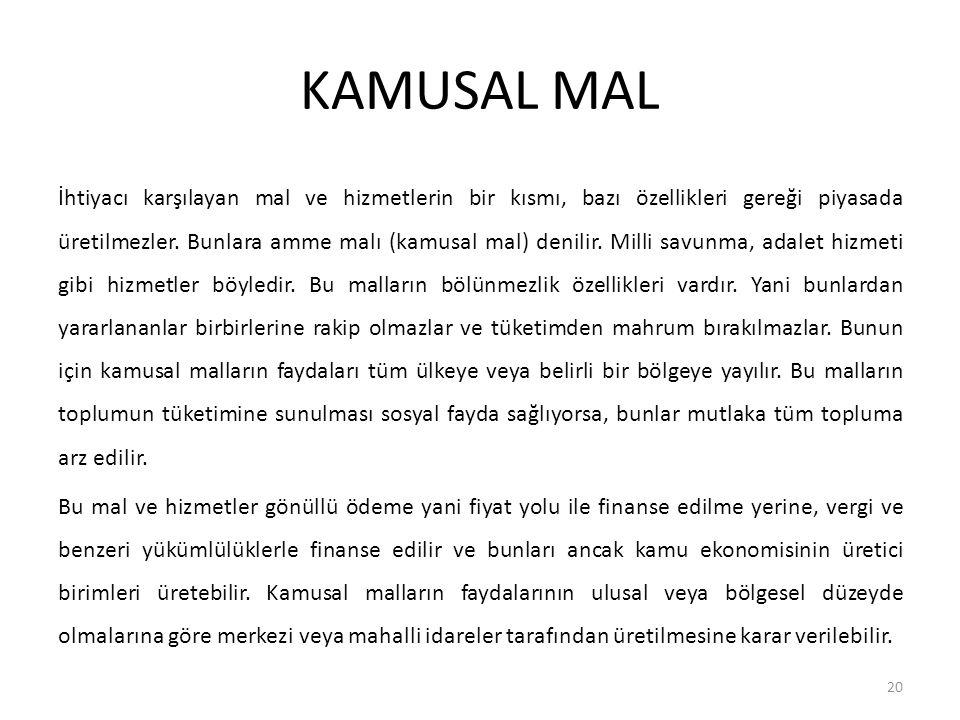 KAMUSAL MALIN ÖZELLİĞİ Kamusal mallar (public goods) kavramının ilk kez 18.
