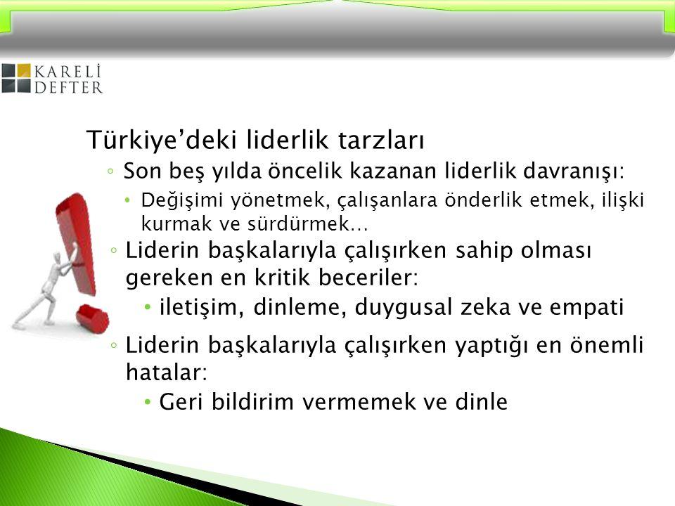 Türk İş Hayatındaki Liderler; Otokratik (%53) Babacan (%25) Danışan (13,6) Demokratik (8,5) Oysa çalışanlara göre liderler; Danışan (%32,5) Babacan (% 28,9) Demokratik (%25,6) Otokratik (%10,3) olmalıdır…